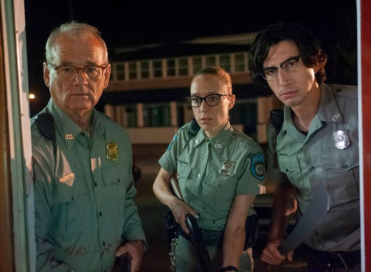 "This undated image provided by Focus Features from left to right, shows Bill Murray, Chloë Sevigny and Adam Driver in a scene from writer/director Jim Jarmusch's ""The Dead Don't Die."""