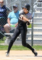 Corning freshman shortstop Atalyia Rijo takes a swing against John Jay-East Fishkill in a Class AA state quarterfinal June 8, 2019 at Union-Endicott.