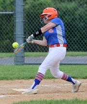 Emily Baker takes a swing for Thomas A. Edison in a sectional semifinal against Greene on May 30, 2019 in Elmira Heights.