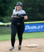 Ellie Daugherty of Corning rounds the bases after hitting a homer during a 14-1 win over Elmira in the Section 4 Class AA softball final June 1, 2019 at the BAGSAI Complex.