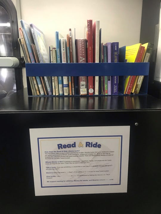 Books for children and adults are available for riders to read and return  –  or keep – on Fond du Lac Area Transit buses.