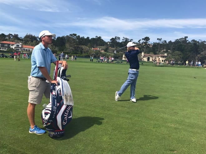 Cape Coral's Connor Arendell hits a shot during a Monday practice round at Pebble Beach Golf Links in preparation for his first major championship, the 119th U.S. Open.