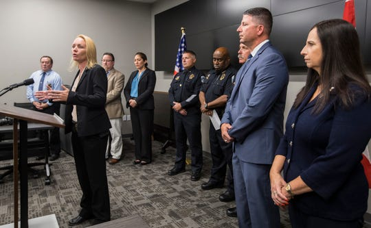 Fort Myers Police detective Sgt. Lesa Breneman addresses members the media during a conference Tuesday, June 11, 2019. The Fort Myers Police Department and the State Attorney's Office held a joint conference regarding the arrest of Earl Joiner for the 2016 homicide of Heyzel Obando.