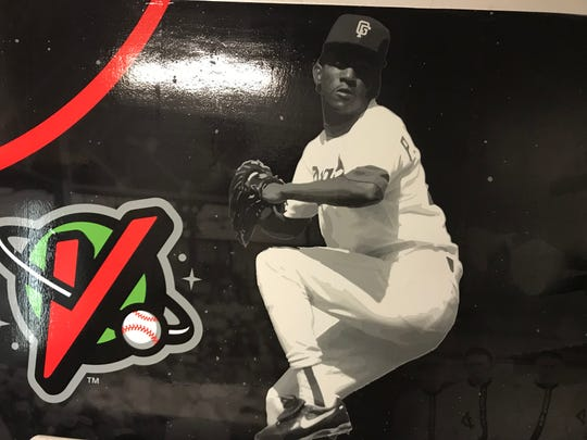 A likeness of future Hall-of-Fame pitcher Pedro Martinez, who pitched for the 1990 Great Falls Voyagers, adorns one of the home team's clubhouse walls at Centene Stadium.