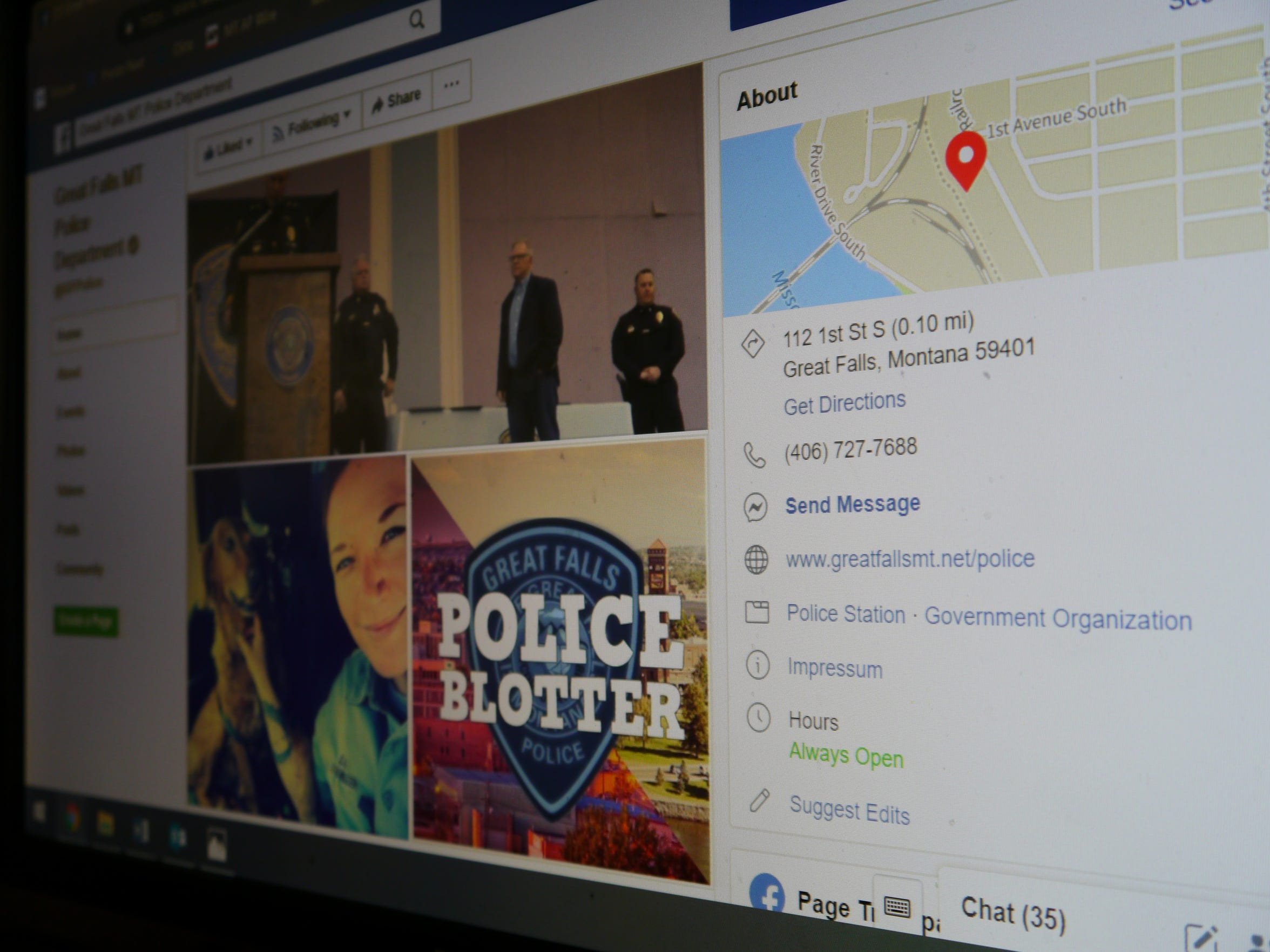 The Great Falls Police Department's Facebook page contains community alerts, highlights officers' service and updates the public on department news.