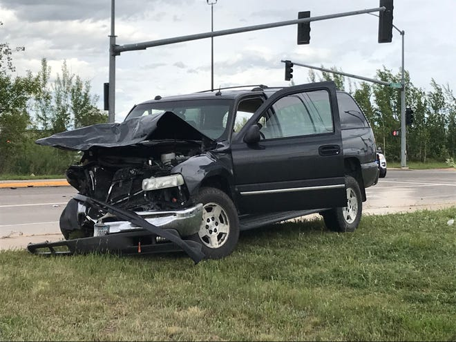 An SUV was one of two vehicles involved in a crash Monday afternoon near the entrance of Malmstrom Air Force Base in Great Falls.