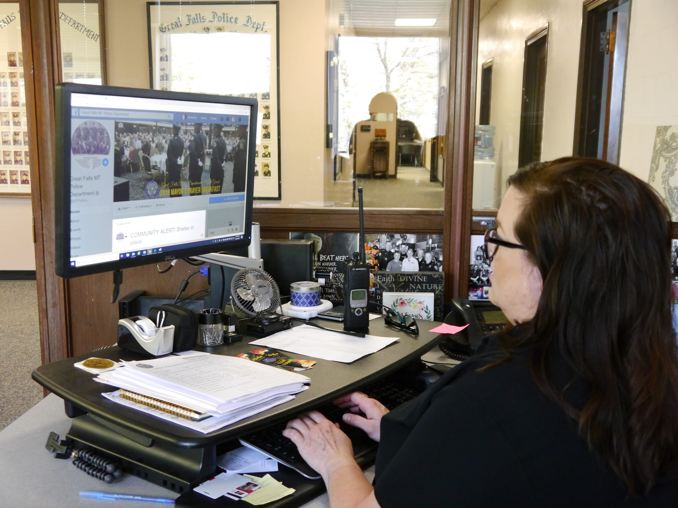 Great Falls Police Department Volunteer Coordinator Adrienne Ehrke manages the department's Facebook site. Having a social media presence has been a positive thing for GFPD, according to Ehrke.