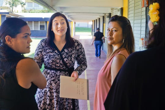 Vice Speaker Telena Nelson, center, tours Chief Brodie Memorial Elementary School in Tamuning in the file photo with Guam Department of Education officials.