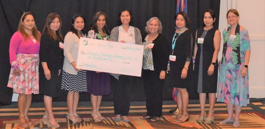 Guam Women's Club Board presented $1000 to Parents Empowering Parents of Children with Disabilities, Inc. at their general membership meeting held May 31 at the Sheraton Laguna Resort. From left: Angie Gibbons, member at large; Leo Jordanou, immediate past president; Joiz Salas, recording secretary; Caroline H. Sablan, president; Brittney Cruz, Parents Empowering Parents; Loling Field, treasurer; Maricor Gerstenlauer, member at large; Cari Nakagawa, corresponding secretary; Mary Lou Wheeler, vice president.