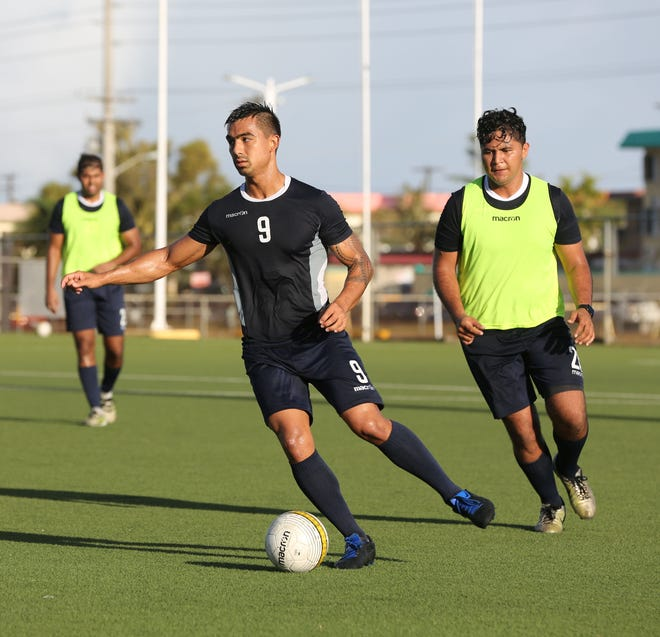 Marcus Lopez of the Matao at a recent training session at the Guam Football Association National Training Center. Marcus, and other players from the national team, have benefited from sessions with sports psychologist Marcel Noronha.