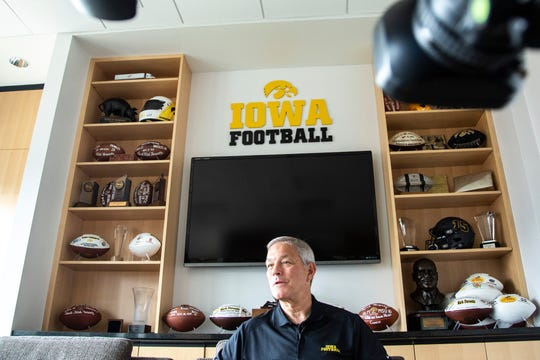 Iowa football head coach Kirk Ferentz speaks during an interview with the Register, Tuesday, June 11, 2019, at the Hansen Football Performance Center in Iowa City, Iowa.