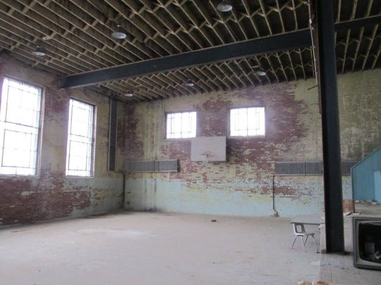 Gym in Decker was used from 1916-1958. School consolidated into South Knox. Basket still there.