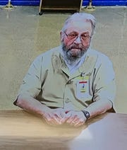 """Earl """"Butch"""" Kimmerling testified via video from the Pendleton Correctional Facility to the Indiana Parole Board in Indianapolis Tuesday, June 11, 2019."""