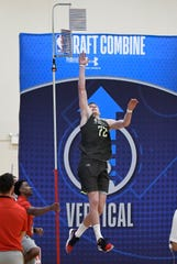 May 16, 2019; Chicago, IL, USA; Luka Samanic does a vertical leap drill during day one of the NBA Draft Combine at Quest Multisport Complex. Mandatory Credit: David Banks-USA TODAY Sports