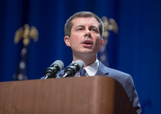 Pete Buttigieg at a campaign rally at Indiana University Auditorium, Bloomington, Tuesday, June 11, 2019.