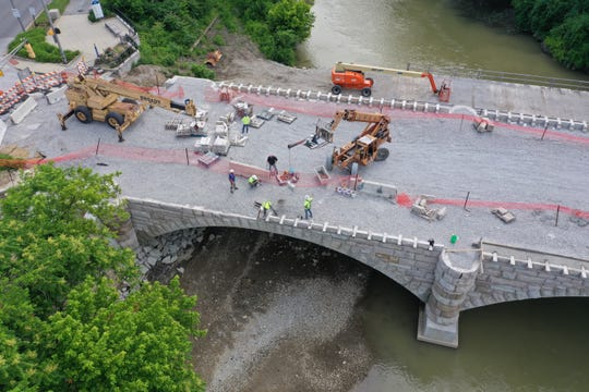 A bird's-eye view of the restoration of the Central Avenue bridge over Fall Creek in Indianapolis.