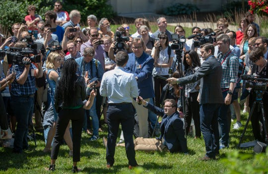 Pete Buttigieg speaks with media members after a campaign rally at Indiana University Auditorium, Bloomington, Tuesday, June 11, 2019.