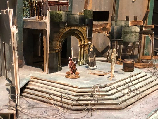 "A model of the stet at for Riverside Theatre's production of ""King Henry IV, Part I"" prior to the set being fully built."