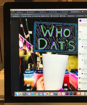 This photo of a computer screen shows a social media post featuring Who Dat's Drive-Thru in Oxford, Miss.