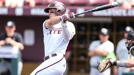 Mississippi State sophomore second baseman Justin Foscue leads the Bulldogs in home runs with 14.