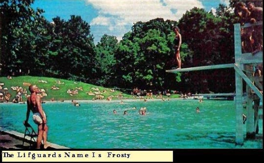 Postcard featuring Lakewood Pool way back when.