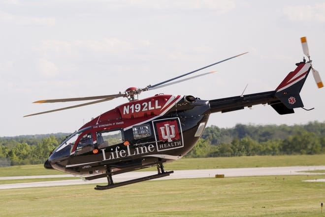 IU Health Lifeline, a Eurocopter EC145 helicopter, takes off from the Purdue University Airport, Tuesday, June 11, 2019 in West Lafayette.
