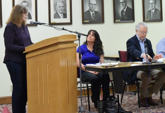 Diane Burnside addresses her concerns about the city's proposed community reinvestment area (CRA) to Lancaster City Council Monday night. The CRA would provide property tax exemptions for 15 years for new housing units.