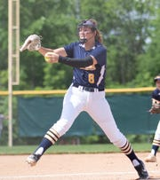 Hartland's Rachel Everett throws a pitch in an 11-3 loss to Clarkston in the state softball quarterfinals on Tuesday, June 11, 2019 at Novi.