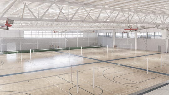 An architectural rendering shows what the Legacy Center Sports Complex's proposed future basketball and volleyball center would look like if investors sign off on the expansion.