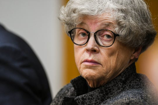 Former MSU President Lou Anna Simon listens to testimony Tuesday, June 11, 2019, in District Judge Julie Reincke's courtroom during the fifth day of her preliminary hearing. Simon faces four charges, including two felonies, because investigators say she lied to police about when she knew about a sexual assault related to the Larry Nassar scandal.