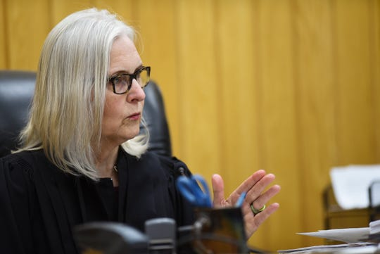 Eaton County Judge Julie Reincke addresses the prosecution Tuesday, June 11, 2019, during the fifth day of Lou Anna Simon's preliminary hearing in Charlotte, Michigan. [USA Today Network/Matthew Dae Smith/Lansing State Journal]