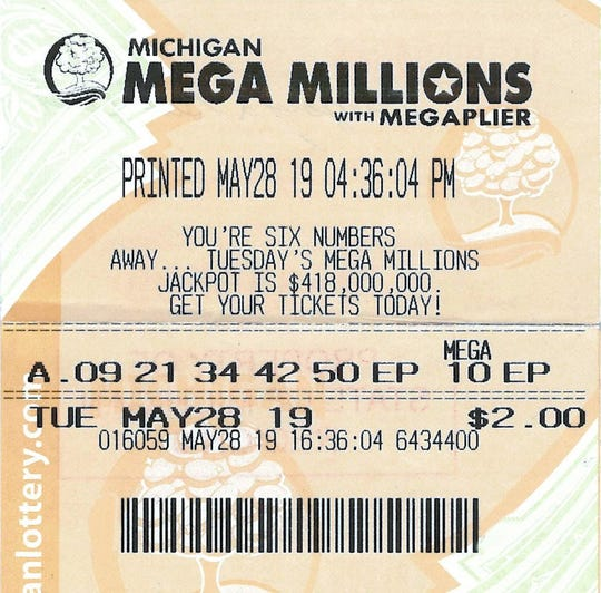 Gregory Guilford's winning Mega Millions ticket.