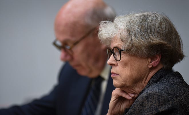 Former MSU President Lou Anna Simon listens to the testimony of Michigan State Police Det. Sgt. William Arndt Tuesday, June 11, 2019, in District Judge Julie Reincke's courtroom during the fifth day of her preliminary hearing. Simon faces four charges, including two felonies, because investigators say she lied to police about when she knew about a sexual assault related to the Larry Nassar scandal.