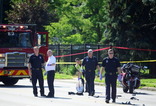 A crash involving multiple vehicles, including a motorcyclde, closed a portion of Park Avenue West on Tuesday.