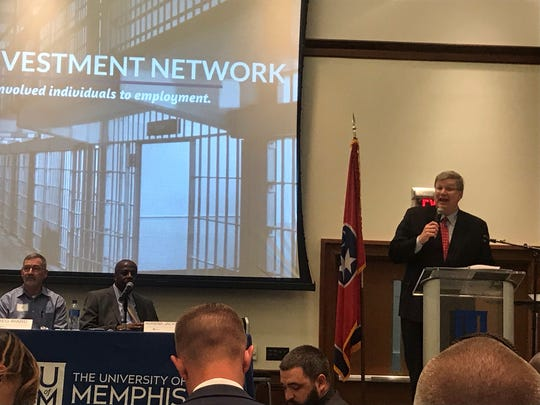 Mayor Jim Strickland speaks during a forum at the University of Memphis on hiring ex-offenders for jobs.