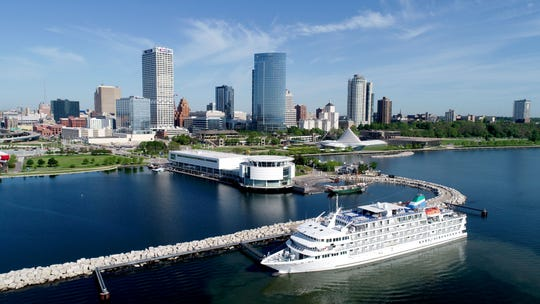 Pearl Mist, a Great Lakes cruise ship, is docked near Discovery World in Milwaukee.