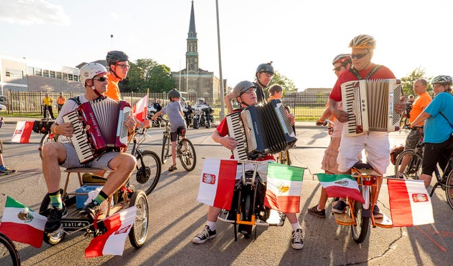 Accordion players perform during a past Polish Moon Ride in Milwaukee.