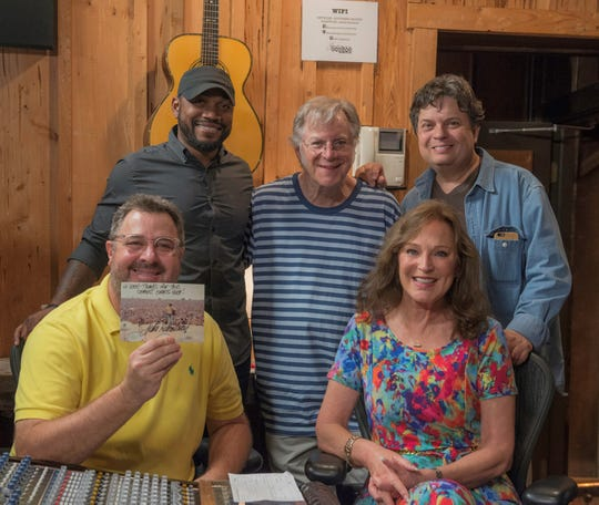 Tony Jackson at the studio with Vince Gill, John Sebastian, and producers Donna Dean Stevens and Jim Della Croce.