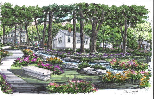 A rendering shows what the Rosenwald school will look like once it is restored on the grounds of the former O'More college campus.