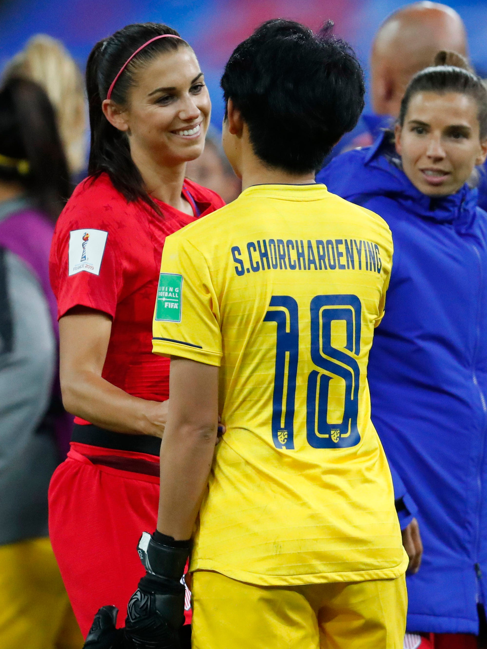 United States forward Alex Morgan (13)  greets Thailand goalkeeper Sukanya Chor Charoenying (18) after their match in group stage play during the FIFA Women's World Cup France 2019 at Stade Auguste-Delaune.