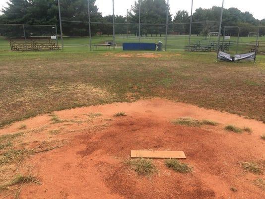 The ball field condition at Poplar Grove School.
