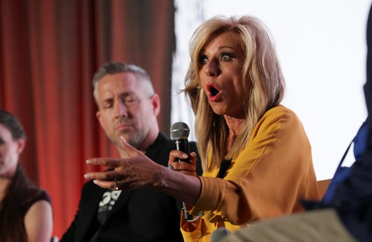 Beth Moore speaks during a panel discussion on sexual abuse at the annual convention of the Southern Baptist Convention in Birmingham, Alabama, on June 10, 2019.