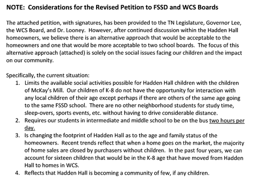 These are the considerations for the revised petition from the Hadden Hall homeowners.