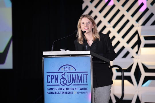 "Tara Westover, author of ""Educated: A Memoir,"" speaks at the 2019 Campus Prevention Network Summit."
