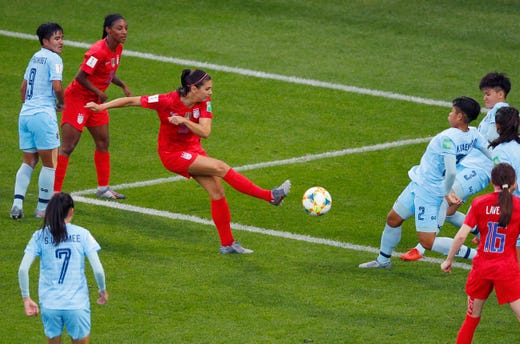 United States' Alex Morgan takes a shot at goal during the Women's World Cup Group F soccer match between the United States and Thailand at the Stade Auguste-Delaune in Reims, France, Tuesday, June 11, 2019.