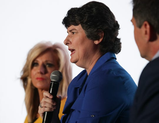 Sexual abuse survivor Susan Codone speaks during a panel discussion at the annual convention of the Southern Baptist Convention in Birmingham, Alabama, on June 10, 2019.