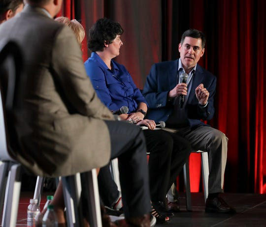 Russell Moore, with the SBC Ethics and Religious Liberty Commission, speaks during a sexual abuse panel discussion at the annual convention of the Southern Baptist Convention in Birmingham, Alabama, on June 10, 2019.