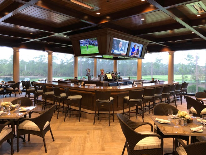 Mediterra's European Chic-style clubhouse is a favored gathering place.  A new 1,850 square-foot outdoor covered bar terrace was created and provides unfettered views of one of the community's two Tom Fazio-designed golf courses.