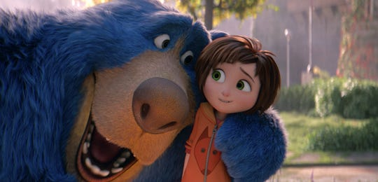 "This image released by Paramount Animation shows June, voiced by Sofia Mali, right, and Boomer, voiced by Ken Hudson Campbell, in a scene from ""Wonder Park."""