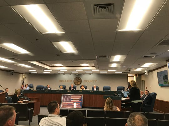 Danette Kinaszczuk, the county's pollution control manager, presents Collier commissioners with a proposed ordinance that includes stricter rules for fertilizers, Tuesday, June 11, 2019, at the Collier County government complex.